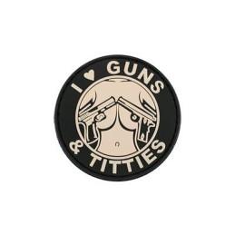 Parche I love guns & titties tan