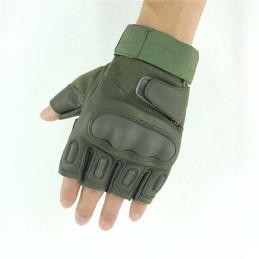 Guantes tácticos medio dedo verde
