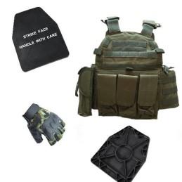 Pack chaleco, placas SAPI y guantes woodland
