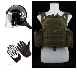 Pack chaleco JPC verde, casco antidisturbios y guantes