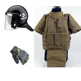 Pack chaleco FSBE II tan, casco antidisturbios y guantes
