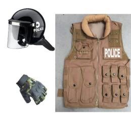 Pack chaleco policial tan, casco antidisturbios y guantes