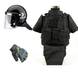 Pack chaleco FSBE II negro, casco antidisturbios y guantes