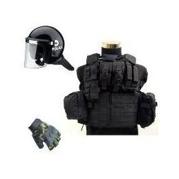 Pack chaleco + casco antidisturbios + guantes