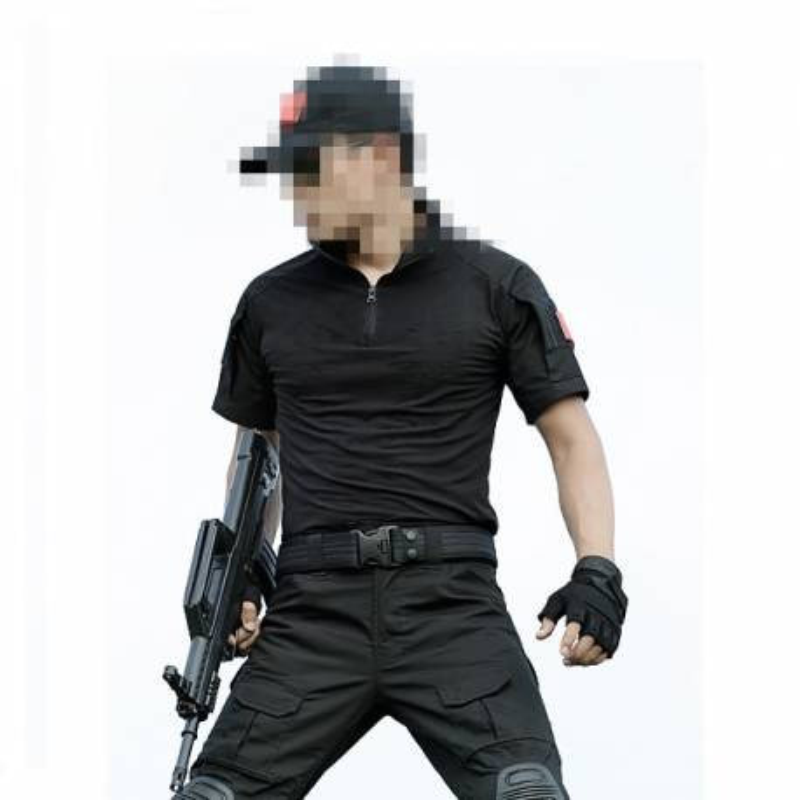 Camiseta combat manga corta negra