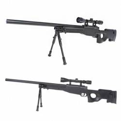 MB01 negro WELL upgraded + bípode + mira sniper airsoft L96