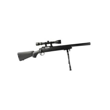 Sniper airsoft muelle MB02 negro WELL con bípode y mira