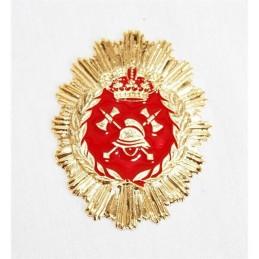 Placa cartera metálica Bombero roja