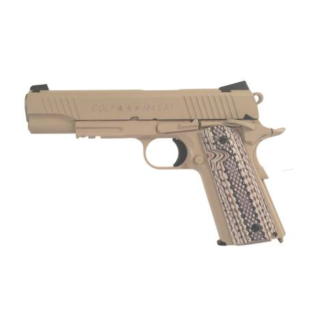 Pistola CO2 Colt 1911 M45 rail tan